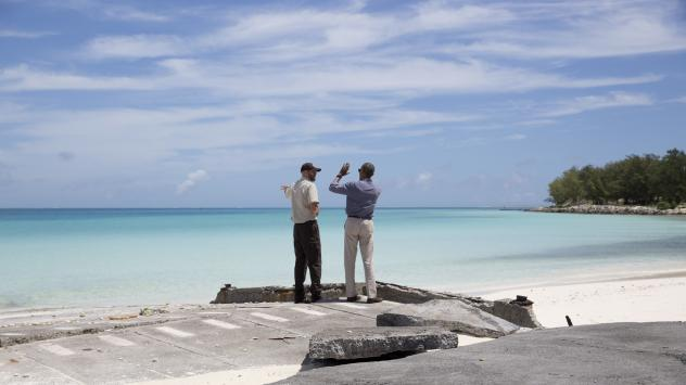 President Barack Obama on Midway Atoll in the Papahānaumokuākea Marine National Monument, Northwestern Hawaiian Islands, earlier this month with Marine National Monuments Superintendent Matt Brown. Obama expanded the monument using his authority under