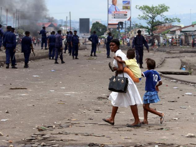 Police in Goma, Democratic Republic of Congo, launched flares during a demonstration on Monday.