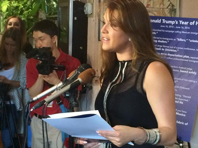 Former Miss Universe Alicia Machado speaks to reporters during a June press conference. Trump criticized her weight in the 1990s, and again after Monday's presidential debate.
