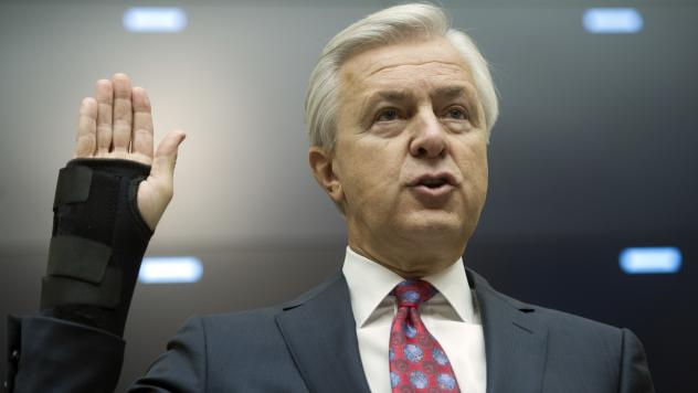 Rep. Gregory Meeks, D-N.Y., asked pointed questions of Wells Fargo CEO John Stumpf on Thursday, including why 5,300 employees had been fired over millions of bogus accounts but Stumpf remains in charge.