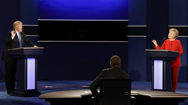 Republican presidential nominee Donald Trump and Democratic presidential nominee Hillary Clinton spar during the first presidential debate of 2016