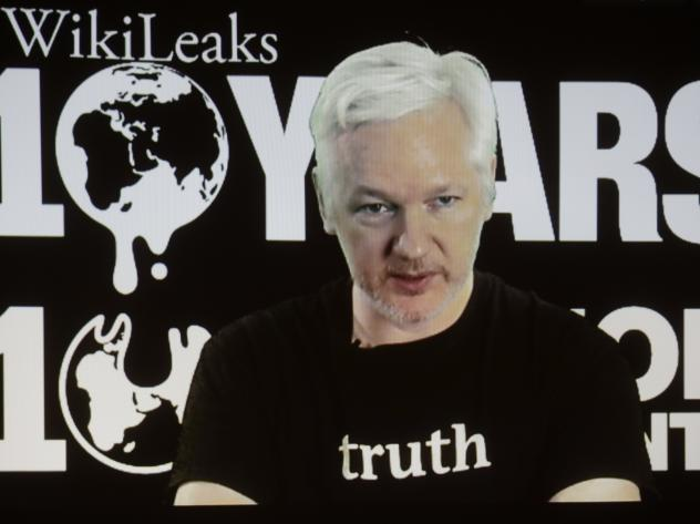 WikiLeaks founder Julian Assange participates via video link at a news conference in October marking the 10th anniversary of the group.