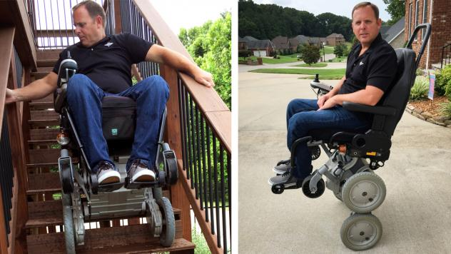 Gary Linfoot was paralyzed by a helicopter crash in Iraq. He's one of the few veterans still using an iBOT, which allows him to rise up to eye level using Segway-style balancing technology. The wheelchair was discontinued in 2009, but may soon be reissue