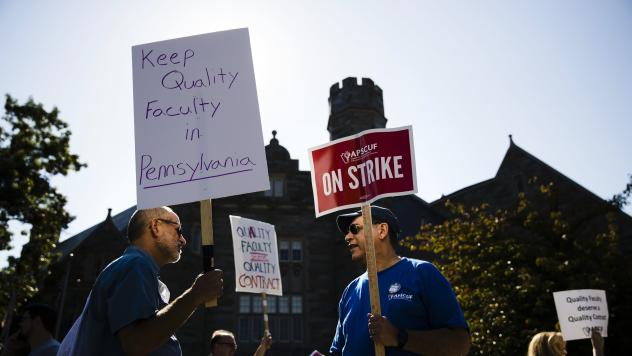 Faculty members picket at West Chester University in Pennsylvania where faculty at state universities went on strike Wednesday morning.