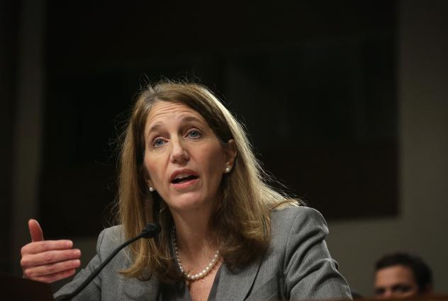 "Secretary of Health and Human Services Sylvia Burwell at a Senate hearing in 2014. ""We expect this to be a transition period for the marketplace,"" she told reporters Wednesday. ""Issuers are adjusting their prices, bringing them in line with actual data o"
