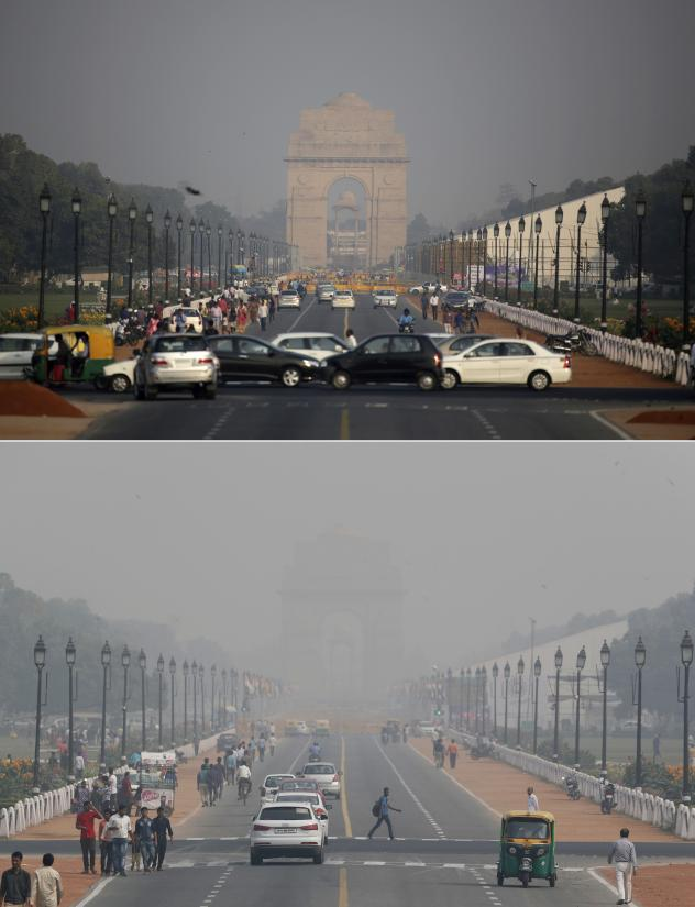 The New Delhi skyline is seen enveloped in smog on Friday (top) when pollution levels were already far above WHO recommendations, and on Monday (bottom) after fireworks for the Diwali festival sharply exacerbated the problem.