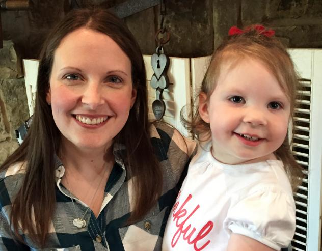 """Intensive home-visits by physical, occupational and speech therapists have been """"a lifesaver,"""" for little Haylee Crouse, her mom Amanda (left) told Shots. Haylee, who is now 2, developed seizures and physical and intellectual disabilities after contracti"""