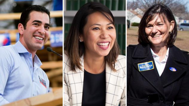 (Left to right) Ruben Kihuen, Democratic candidate for Nevada's 4th Congressional district, Stephanie Murphy, Democratic candidate for Florida's 7th congressional district, and LuAnn Bennett, Democratic House candidate in Virginia's 10th district.
