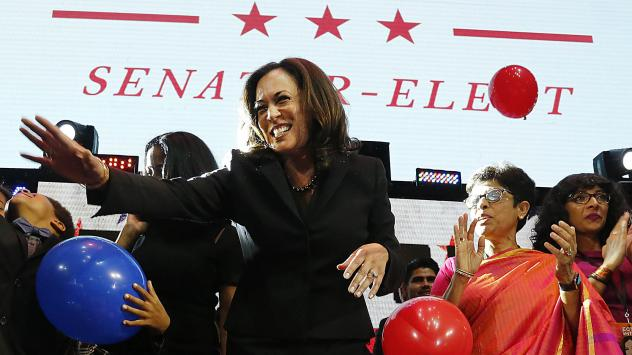 Kamala Harris celebrates winning her Senate race Tuesday in Los Angeles. Harris, who's African-American and South Asian-American, is the first biracial woman elected to the Senate.