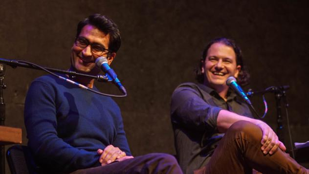 Kumail Nanjiani and Stephen Thompson on stage at the Regent Theater in Los Angeles on Sunday, October 23, 2016.
