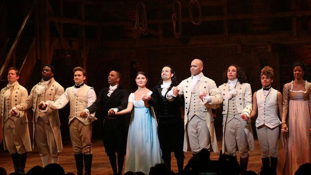 """Vice President-elect Mike Pence, top center, leaves the Richard Rodgers Theatre after a performance of """"Hamilton"""" on Friday."""