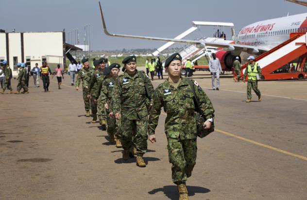 Members of Japan's Ground Self-Defense Forces arrive at the airport in Juba, South Sudan, on Monday.