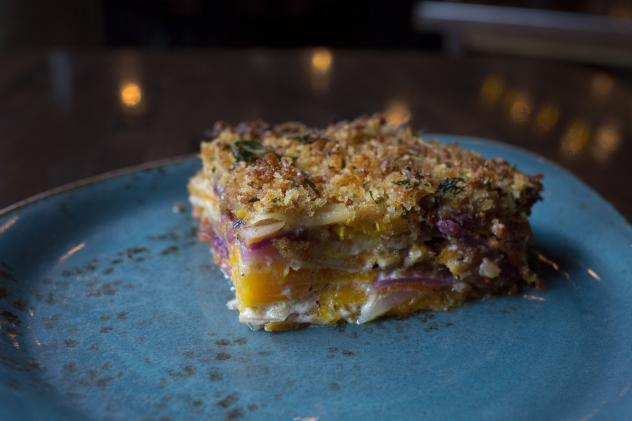 Chef Isabella's Orange-Cranberry Terrine is flavored with cinnamon and herbs and topped with Greek yogurt.