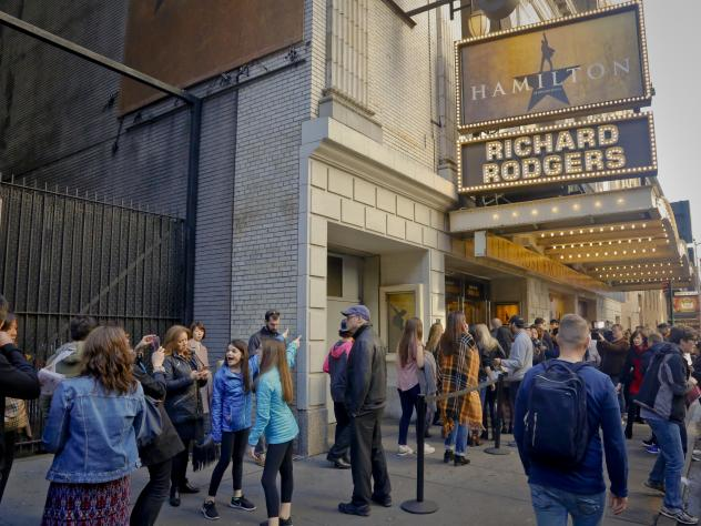 People line up to see the Broadway hit <em>Hamilton</em> on Nov. 19 in New York.