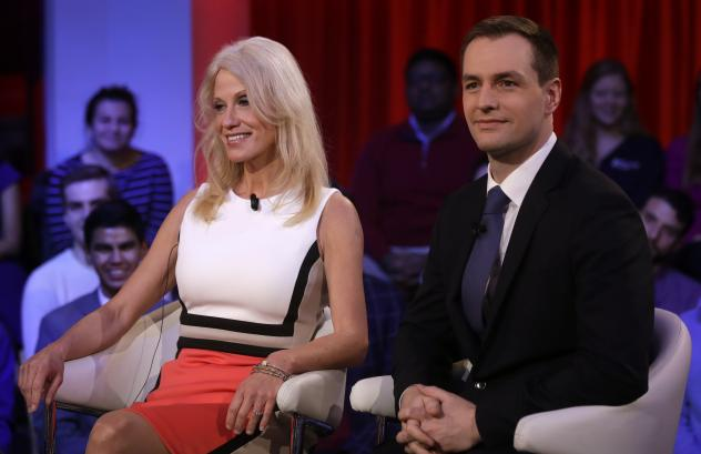Trump campaign manager Kellyanne Conway sits with Robby Mook, Hillary Clinton's campaign manager, before a forum at Harvard University's Kennedy School of Government.