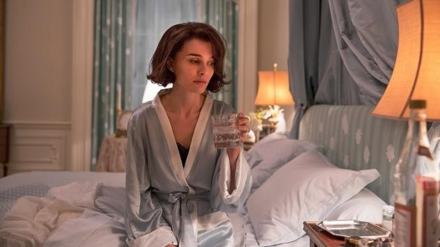 Before She Drifts Asleep Upon Her Cot: Jackie Kennedy (Natalie Portman) grieves and drinks, drinks and grieves, in Pablo Larraín's <em>Jackie</em>.