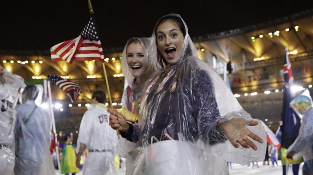 """The """"Olympic Channel: Home of Team USA"""" network, set to launch next year, will focus on U.S. athletes and show live competitions on the path to the Olympics. Here, U.S. athletes pose during the closing ceremony of the Rio 2016 Summer Olympics in August."""
