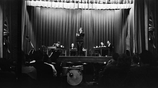 In December 1951, Norfolk Prison hosted its first international debate, against Oxford University. The debater pictured, Dick Taverne, went on to be a member of Parliament. When the prison hosted debates, church groups, local business owners, even judges