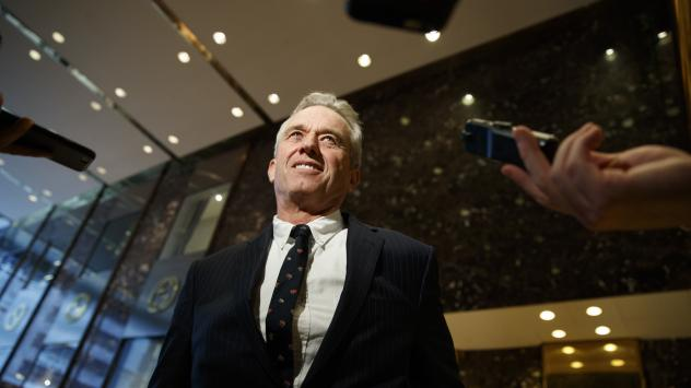 """Robert F. Kennedy Jr. in the lobby of Trump Tower in New York, Tuesday, after meeting with President-elect Donald Trump. Kennedy said Trump put him in charge of a commission on """"vaccine safety."""""""