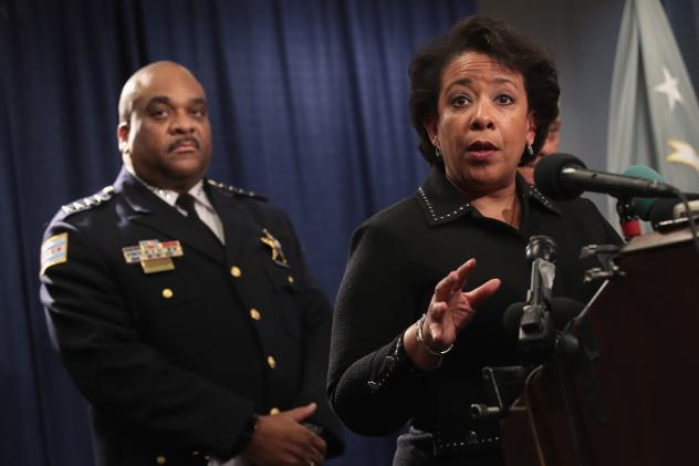Attorney General Loretta Lynch, in Chicago on Friday, announces the release of a Department of Justice report citing widespread abuses by officers in the Chicago Police Department. The report is the result of a 13-month investigation.