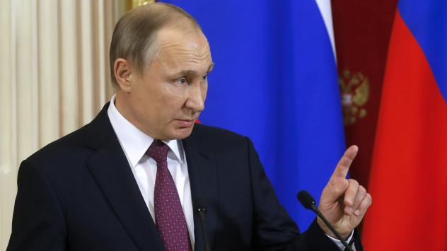 """Russian President Vladimir Putin, shown during a joint news conference with his Moldovan counterpart following their meeting Tuesday in Moscow, said President-elect Donald Trump won a """"convincing victory."""""""