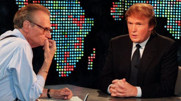 """Donald Trump interviewed on """"Larry King Live,"""" Oct, 7, 1999. Trump said he had formed an exploratory committee to help him determine whether he can win the White House as a Reform Party candidate."""