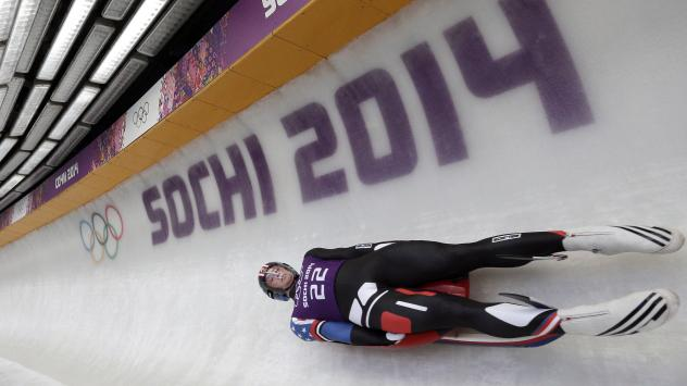 Aiden Kelly trains for the men's singles luge at the 2014 Winter Olympics on Feb. 7, 2014, in Krasnaya Polyana, Russia.