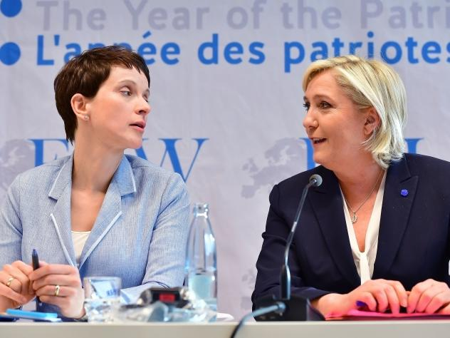 Frauke Petry, co-chair of Germany's Alternative for Germany party, and Marine Le Pen, who heads France's far-right National Front attended a conference of European right-wing parties in Koblenz, Germany. France, the Netherlands and Germany all face natio