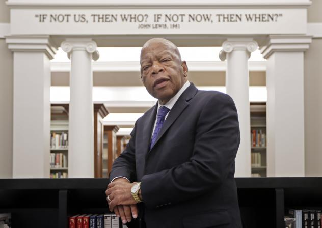 Rep. John Lewis stands in the Civil Rights Room in the Nashville Public Library in Nashville, Tenn. The American Library Association announced Monday that the Georgia Democrat received four prizes Monday for <em>March: Book Three</em>, the last of a grap