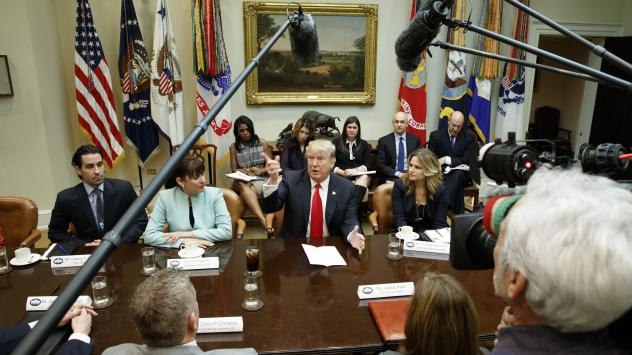 President Trump speaks during a meeting with business leaders in the Roosevelt Room of the White House in Washington, D.C., on Monday.