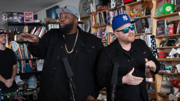 Run the Jewels perform a Tiny Desk Concert on Jan. 12, 2017. (Claire Harbage/NPR)