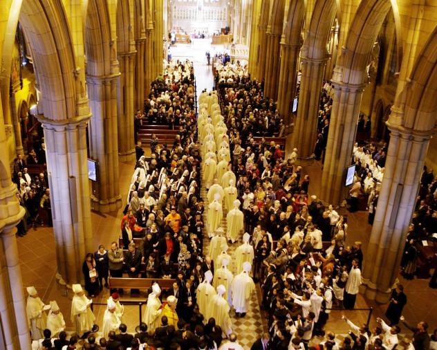 Pope Benedict XVI apologized in 2008 to victims of child sex abuse by Roman Catholic clergy at a mass in Sydney at St. Mary's Cathedral.