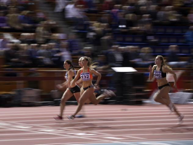 Anastasiya Grigoryeva (center) during a 60m heat at the Russian Winter national athletics meet in Moscow, Russia, on Feb. 5.