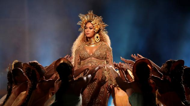 Beyonce, who is nominated for Record, Album and Song of the Year, performs songs from <em></em>her album <em>Lemonade</em> on stage during the 59th Grammy Awards.