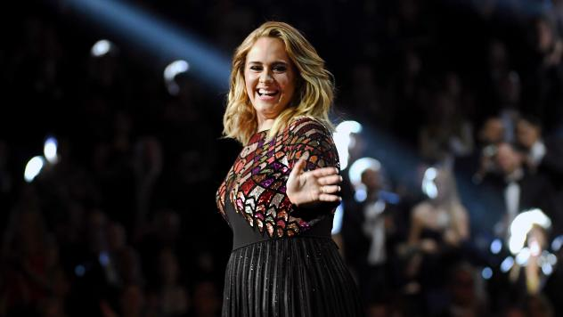 Adele performs onstage during the Grammy Awards on February 12, 2017.