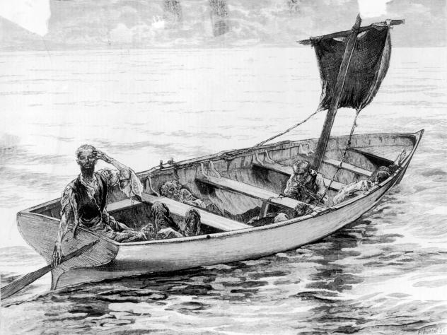 """An illustration from 1875 depicts the survivors of the frigate <em>Cospatrick</em>, which caught fire off South Africa's Cape of Good Hope in November 1874. Of more than 470 people on board, just three ultimately survived, and they <a href=""""http://www.nz"""