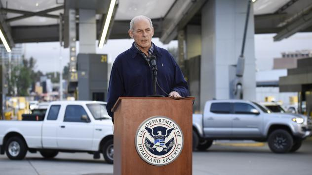 Memos signed by Secretary of Homeland Security John Kelly, seen at a news conference earlier this month at the San Ysidro Port of Entry in San Diego, lay out a number of immigration-enforcement measures, such as expedited deportation proceedings for unau