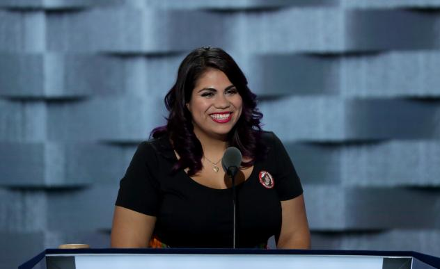 Immigration activist Astrid Silva delivers remarks on the first day of the Democratic National Convention in Philadelphia in July 2016. She gave the Spanish-language response to President Trump's address to Congress on Tuesday.