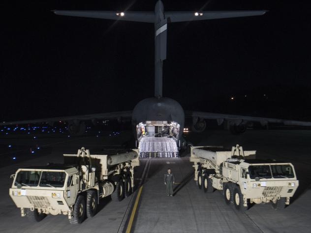 Two mobile launchers landed in South Korea late Monday, part of a missile defense system that the U.S. military says is meant to defend the country against a North Korean attack.