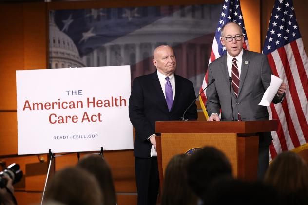 House Ways and Means Chairman Kevin Brady, R-Texas (from left) and House Energy and Commerce Chairman Greg Walden, R-Ore., answer questions about the American Health Care Act.