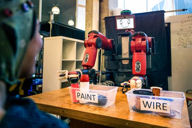 In the experiment, Baxter, a robot from Rethink Robotics, looks embarrassed when he makes the wrong choice.