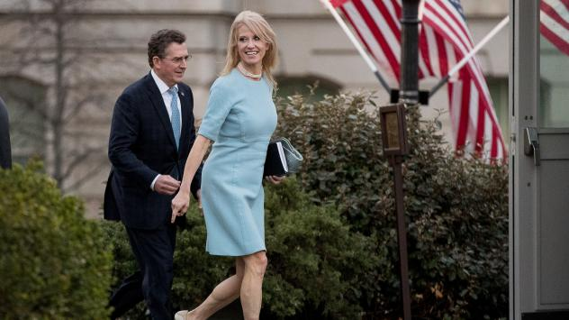 Counselor to the President Kellyanne Conway, right, and former Sen. Jim DeMint, now president of the Heritage Foundation, walk away from the West Wing of the White House on Wednesday. The White House declined to discipline Conway for a lapse in a recent