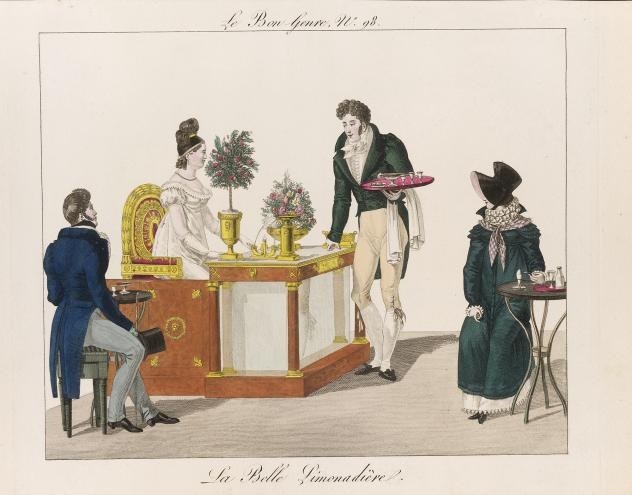 A caricature of a French lemonade merchant, after Henry William Bunbury, 1771.