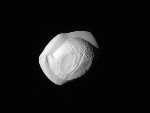 Images of Pan were taken by the NASA spacecraft Cassini on Tuesday.