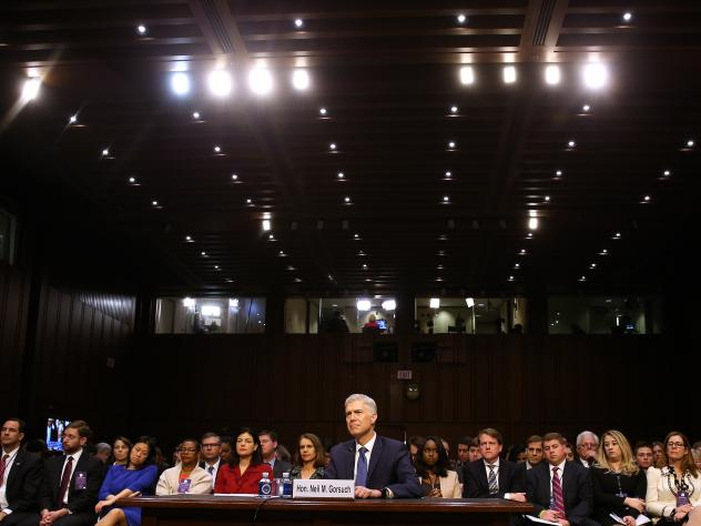 Neil Gorsuch appears before the Senate Judiciary Committee during his Supreme Court confirmation hearing.
