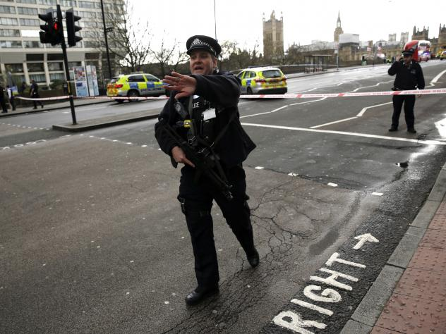 Medical staff near Westminster Bridge on Wednesday in London, while the U.K. House of Commons was under lockdown.