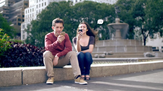 Tenor Scott Joiner and mezzo-soprano Viktoria Falcone try to find love via Tinder in a still from <em>Connection Lost: The Tinder Opera</em>.