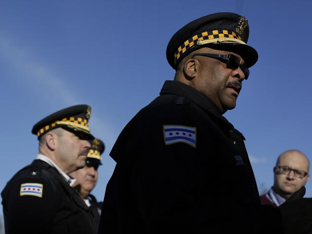 Chicago police announced on Sunday the arrest of a 14-year-old boy in connection with the sexual assault of a 15-year-old girl that was streamed live on Facebook. Above, Chicago Police Superintendent Eddie Johnson talks to reporters at the scene of a tri