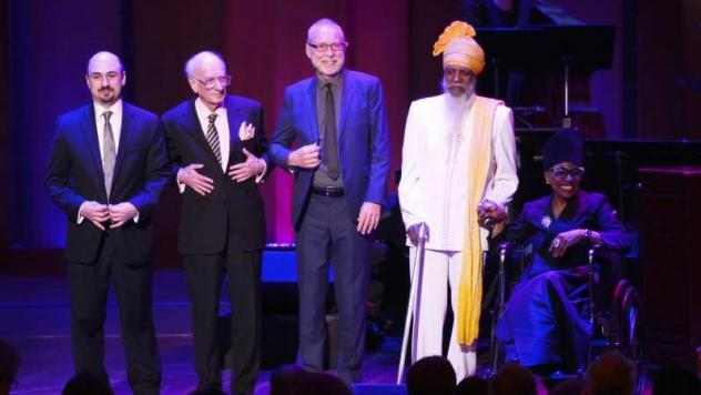 James Genus (bass), Steve Nelson (vibraphone), Robin Eubanks (trombone), Chris Potter (saxophone), and Nate Smith (drums) perform in honor of Dave Holland at the 2017 NEA Jazz Masters Tribute Concert on April 3, 2017 at the John F. Kennedy Center for the