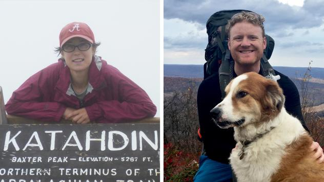 Sara Leibold (left) at the northern terminus of the Appalachian Trail in 2011. Rhys Hora is thru-hiking the trail this year.